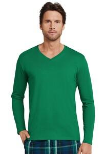 Schiesser Mix & Relax Cotton T-Shirt V-Hals T-Shirt Donker Groen