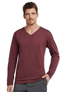 Schiesser Mix & Relax Cotton T-Shirt V-Hals T-Shirt Donker Rood