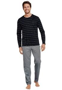 Schiesser Mix & Relax T-Shirt Round Neck T-Shirt Zwart Melange
