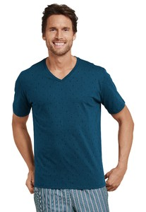 Schiesser Mix & Relax T-Shirt V-Neck T-Shirt Petrol