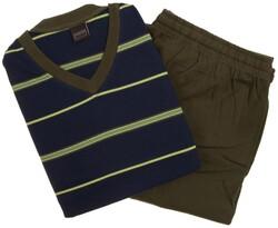 Schiesser Multi Colored Stripes Nightwear Dark Evening Blue