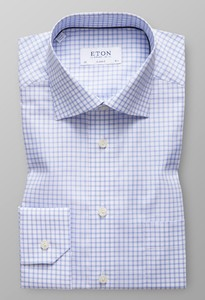 Eton Classic Check Twill Stretch Licht Blauw