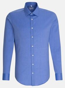 Seidensticker Business Kent Faux Uni Overhemd Blauw