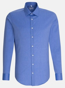 Seidensticker Business Kent Faux Uni Shirt Blue
