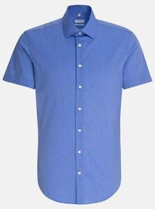Seidensticker Business Kent Short Sleeve Overhemd Blauw