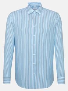 Seidensticker Business Kent Striped Poplin Overhemd Turquoise