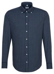 Seidensticker Button Down Check Shirt Navy