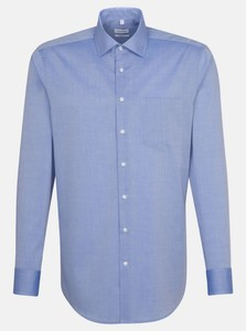 Seidensticker Chambray Basic Shirt Navy Blue