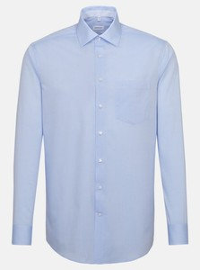 Seidensticker Chambray Cotton Faux Uni Shirt Blue