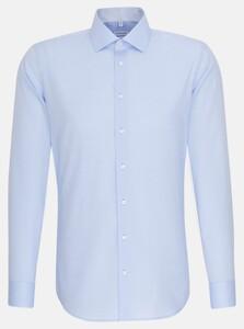 Seidensticker Chambray Faux Uni Overhemd Blauw