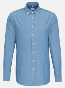 Seidensticker Chambray Mini Dot New Button Down Overhemd Pastel Blauw