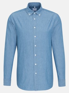 Seidensticker Chambray Mini Dot New Button Down Shirt Pastel Blue