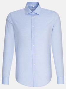 Seidensticker Chambray Uni Mouwlengte 7 Overhemd Blauw