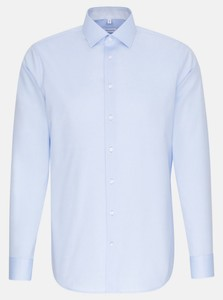 Seidensticker Chambray Uni Non Iron Overhemd Blauw