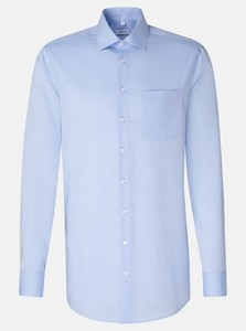 Seidensticker Chambray Uni Sleeve 7 Shirt Sky Blue Melange