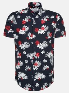 Seidensticker Fantasy Leaf Short Sleeve Overhemd Rode Wijn