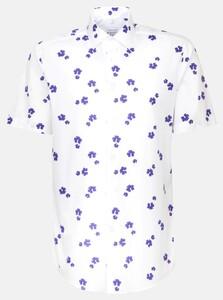 Seidensticker Fantasy Leaf Short Sleeve Shirt Lilac