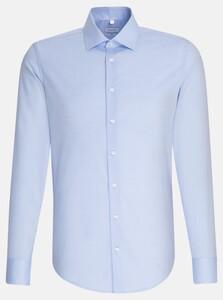 Seidensticker Faux Uni Chambray Overhemd Blauw
