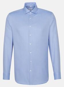 Seidensticker Faux Uni Light Spread Kent Overhemd Intens Blauw