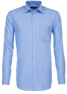 Seidensticker Fil à Fil Basic Overhemd Midden Blauw