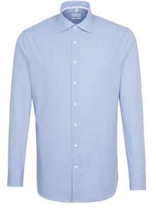 Seidensticker Fine Check Poplin Spread Kent Overhemd Intens Blauw