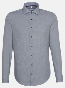 Seidensticker Fine Check Poplin Spread Kent Overhemd Navy