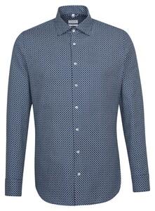 Seidensticker Fine Contrast Overhemd Donker Blauw