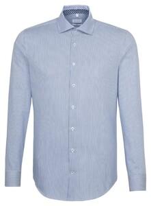 Seidensticker Fine Striped Mouwlengte 7 Overhemd Sky Blue Melange
