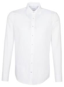 Seidensticker Fine Structure Faux Uni Mouwlengte 7 Overhemd Wit