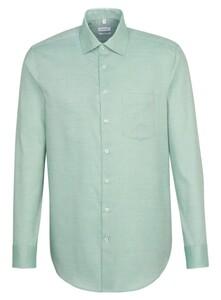 Seidensticker Fine Structure Faux Uni Overhemd Groen