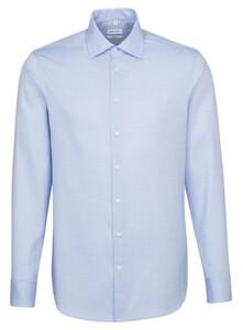 Seidensticker Fine Structure Faux Uni Overhemd Intens Blauw