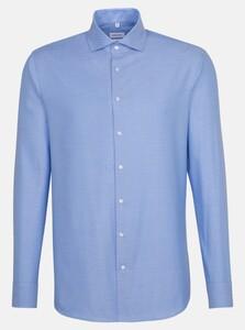 Seidensticker Fine Structure Light Spread Kent Shirt Deep Intense Blue