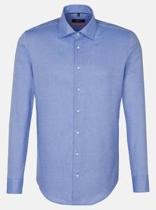 Seidensticker Fine Structure Mouwlengte 7 Overhemd Intens Blauw