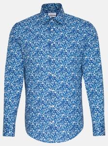 Seidensticker Floral Contrast Overhemd Turquoise