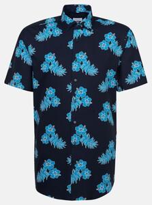 Seidensticker Floral Leaf Fantasy Overhemd Turquoise