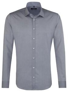 Seidensticker Kent Faux-Uni Overhemd Midden Grijs