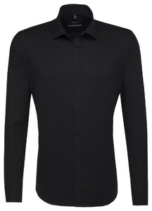 Seidensticker Kent Faux-Uni Overhemd Zwart