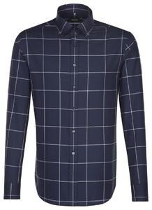 Seidensticker Large Contrast Check Overhemd Donker Blauw Melange