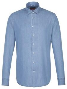 Seidensticker Light Denim Kent Shirt Aqua Blue