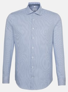 Seidensticker Light Spread Kent Stripe Mouwlengte 7 Overhemd Sky Blue Melange