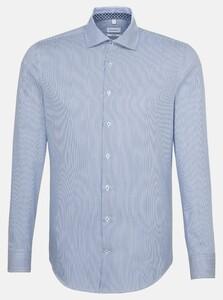 Seidensticker Light Spread Kent Stripe Sleeve 7 Shirt Sky Blue Melange