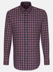 Seidensticker New Button Down Check Overhemd Rode Wijn