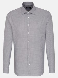 Seidensticker Oxford Fine Contrast Overhemd Blauw-Bruin