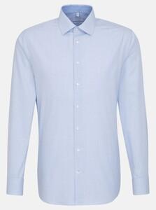 Seidensticker Poplin Business Kent Check Overhemd Blauw