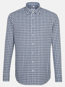 Seidensticker Poplin Button Down Check Shirt Navy