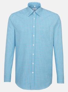 Seidensticker Poplin Check Covered Button Down Overhemd Turquoise