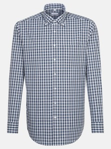 Seidensticker Poplin Cotton Check Overhemd Navy