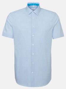 Seidensticker Poplin Fine Check Overhemd Turquoise