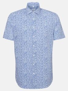 Seidensticker Poplin Floral Fantasy Overhemd Sky Blue Melange