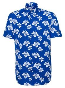 Seidensticker Poplin Floral Fantasy Shirt Sky Blue Melange